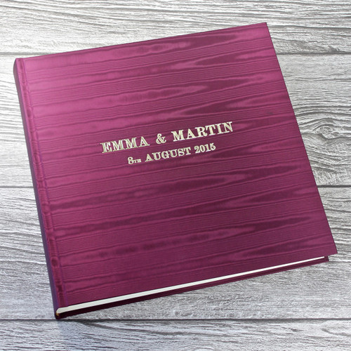Magenta Satin Taffeta Photo Album With Moiré Design