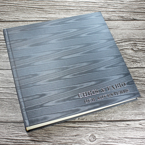 Silver Grey Satin Taffeta Album With Moiré Design