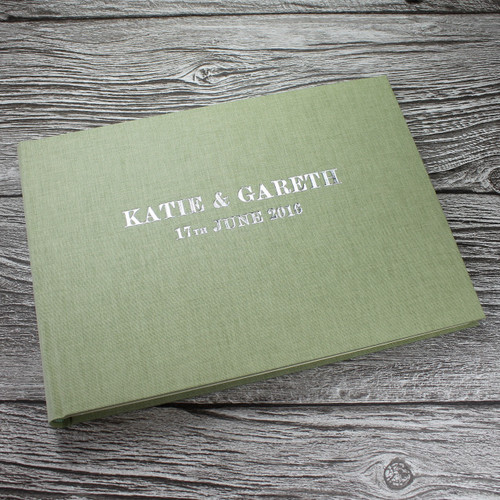 Photo Booth Guest Book - Sage Green Linen - A5 or A4 Landscape