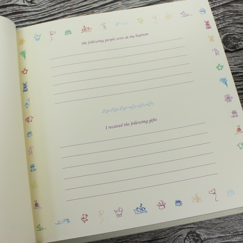 Baby Girl Memory Record Book - White Leather Pink & White Ribbon Page Marker