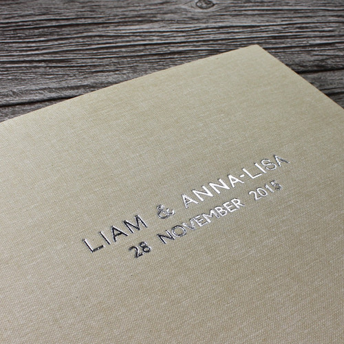 Wedding Guest Book In Sand Linen - A5 or A4 Landscape