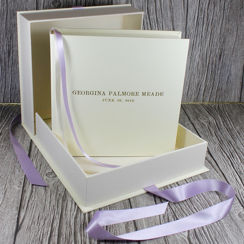 Baby Girl Keepsake Memory Box - Ivory Leather With Lilac Ribbon Tie