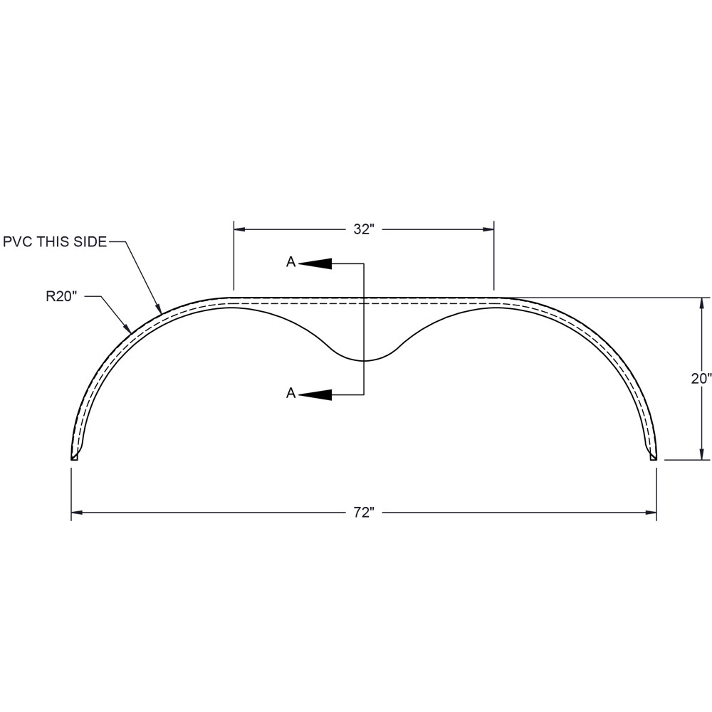 Tandem Axle Trailer Fenders : Tandem axle teardrop gauge steel trailer fender