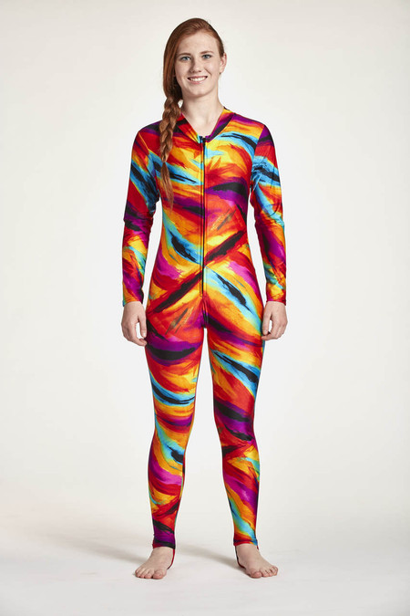 Diveskin Front View Shown in Tie Dye Splash.