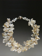 Opulent Freeform Silver White Pearl Collar ONE OF A KIND