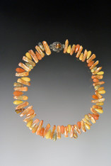 """This colorful hand-knotted silk necklace features peach biwa pearls and jasper teardrops.  Choose 18"""" single strand or 20"""" double strand."""