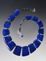 "This dramatic collar features rich cobalt natural lapis geometric fitted slices, jet AB Swarovski crystals. 18""  ONLY TWO!"
