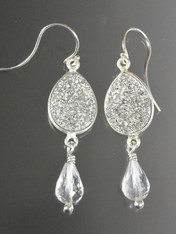 Silver Druzy Crystal Sterling Dangle Earrings