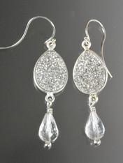 Silver Druzy Crystal Sterling Dangle Earrings