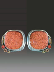 "These new versatile Amy Kahn Russell earrings feature textured tapestry covered with clear quartz framed with a coral cabochon and intricately carved brass leaves and balls bezel set in sterling silver.  1-1/2"" x 1-1/2""  Now clips; convert to posts for an additional $15"