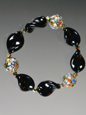 Venetian 24K Black Klimt Swirl Bracelet