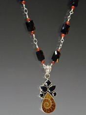 Black Onyx Sterling Chain Ammonite Pendant