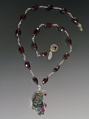 Garnet Wire Wrapped Chain with Freeform Russian Eudialyte Pendant