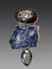 SALE - Platinum Druzy Agate Sodalite Sterling Pin/Pendant