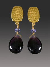 "If you like a ""dangle"" look but can't find clip earrings, you'll love these limited edition Bess Heitner earrings featuring rich purple wine amethyst teardrops and Swarovski tanzanite rondels with a hammered super high quality 24K plated clip top with comfort tabs and a ridiculously affordable price."