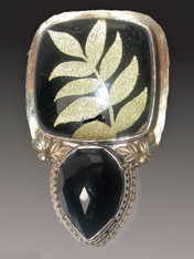 SALE - Vintage Tapestry Quartz Onyx Sterling Pin/Pendant