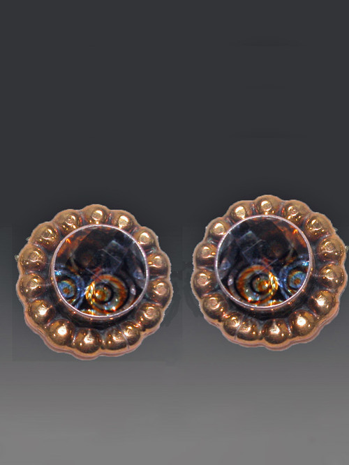 "These dramatic Amy Kahn Russell earrings feature dazzling faceted multi-toned quartz with an embellished brass frame over sterling silver. 1 round "". Now clips; convert to posts for $15."