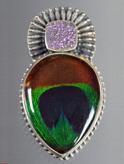 SALE- Dichroic Venetian Glass Brazilian Druzy Sterling Pin/Pendant
