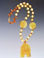 Vintage Bakelite Amber Hand-Carved Jade 14K Pedant Necklace