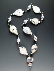 Snow Agate Moonstone Blue Topaz Pendant Necklace ONE OF A KIND