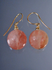Faceted Peach Rutilated Quartz 14K Earrings ONE OF A KIND