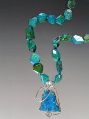 Chrysocolla Blue Topaz Sterling Pendant Necklace ONE OF A KIND - SOLD