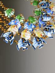 Cloissone Enamel Pearl Fish Necklace