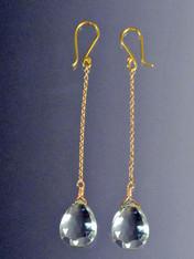 Faceted Green Amethyst 18K Dangle Earrings