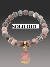 Pink Druzy  Bracelet with Gold Trimmed Druzy Dangle ONE OF A KIND - SOLD