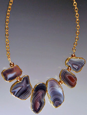 Multi-Toned Patterned Agate trimmed in 24K on a Gold Chain