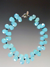 Aqua Chalcedony Faceted Teardrop Collar