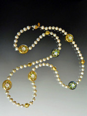 Grade AAA Pearl Rope With Murano Glass Hand Painted Porcelain Flowers