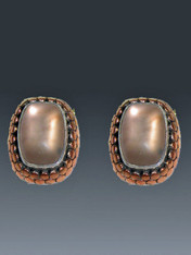 """RETAIL PRICE: $270..SALE $78  These charming and versatile Amy Kahn Russell earrings feature glowing frosted copper quartz cabochons set in a deep embossed copper and sterling frame. Perfect for day or night and so affordable.. 1-1/4""""-3/4"""" Clips; convert to posts for an additional $15 (Retail value $270)"""