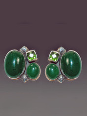 """Love this medley of greens and dramatic design. These Amy Kahn Russell earrings feature two bright green agate and a faceted peridot cabochon in a harmonious composition set in sterling silver. Perfect for any occasion. Aprox 1"""" x 3/4"""" Now clips; convert to posts for additional $15"""