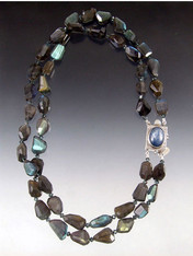 """Understated dazzle is yours with two strands of rich blue sparkling labradorite nuggets sapphire Austrian crystals and a sterling kyanite clasp for a side or center highlight. 18"""""""
