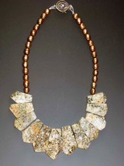 Don't miss this collar of Brazilian pyrite (fool's gold)  on a strand of champagne pearls!