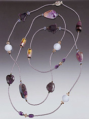 "The beautiful rope features South African sugilite slices.  Choose 44"" or 44"""