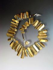 Iridescent Quartz Collar: Gold/Bronze