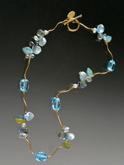 """Brazil boasts the world's finest topaz and this blue beauty is no exception. Brilliantly faceted gemstones and precious clusters offreshwater pearls, petal pearls, labradorite, and frosted hand-carved glass leaves nestle between14K curved branches and 14K clasp 17-1/2"""""""