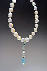 """This magnificent showstopper features HUGE Grade AAA opulent 16mm white puffy coin pearls, a14Ktoggle clasp and an amazing dangle with three different Grade AAA faceted Brazilian aquamarine stones (54 grams) .Necklace 19"""" Dangle 3-1/2"""""""