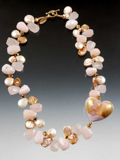 """A fantasic limited edition 24K 1-1/2"""" Zanfirico* puffed heart is the focal point of this luxurious collar glowing with pink opal, rose quartz, pink freshwater pearls, rare rose gold petal pearls, 24K plated Swarovski crystals and a 14K cast spiral toggle clasp from years ago (now worth as much as the whole necklace)"""