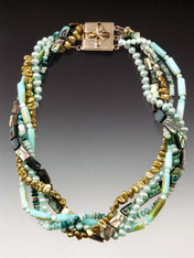 """Feel like a mermaid in this medley of blue/green tones featuring hemimorphite, abalone, peruvian opal, freshwater pearls - each one unique. Clasp varies with design but all very special. 21"""""""