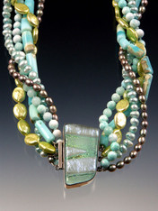 """A medley of aqua, lime and pale blue opal, hemimorphite, and pearls centered with a showcase Venetian glass sterling clasp.20"""""""