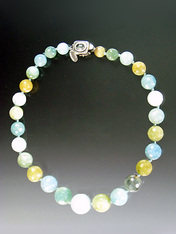 "If you cherish fine aquamarine, you'll adore this 17-1/2"" necklace of Grade AAA faceted perfectly round aquamarine globes in multi-tones of aqua ranging from cloud to deep robins egg to pale olive. All hand-knotted with pale aqua silk Japanese double knots finished with a custom sterling aquamarine clasp and safety catch."