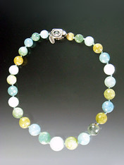 Aquamarine globes in multi-tones of aqua ranging from cloud to deep robins egg to pale olive.
