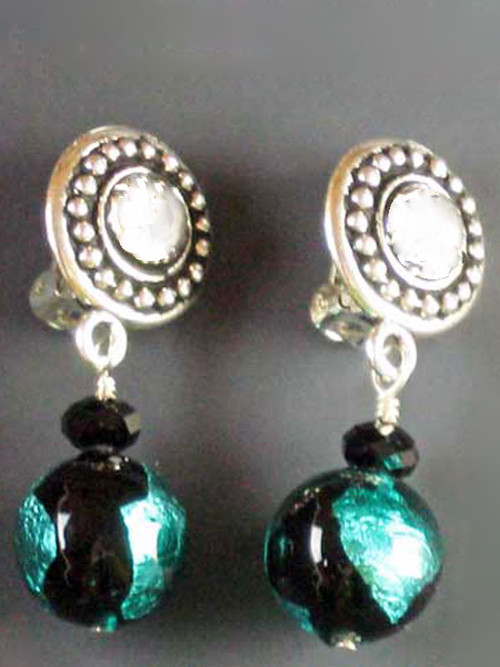 """This elegant design features circle pattern Terracast sterling buttons and genuine aqua/green black Venetian glass globes and a tiny Swarovski crystal for sparkle. Super light and elegant 1"""""""