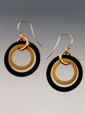 These double hoop earrings in gunmetal and 24K brushed gold overlay with14K earwiresare totally trendy and go with everything.