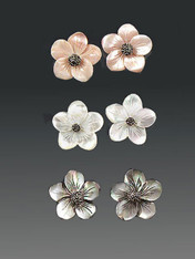 Mother-of-pearl hand-carved flower earrings in pink, white or black with marcasite stud-choose white, pink, or black in comments! 1""