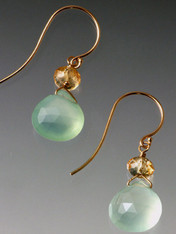 A website and show bestseller! Goes with everything! Faceted aqua chalcedony drops with citrine rondels and14K earwires