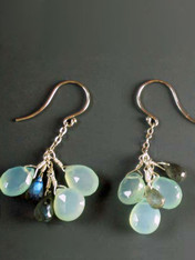 Chalcedony Labradorite Cluster Earrings